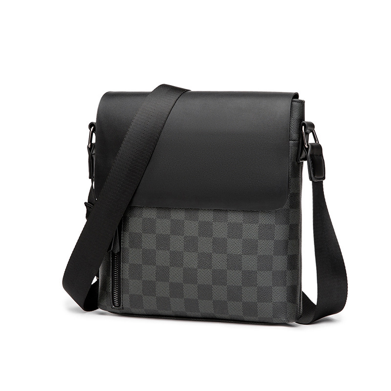 HORIZONPLUS LUXURY America And Europe Fashion  MEN Check PLAID Pattern Vegan Leather Shoulder Bag Messenger Bag