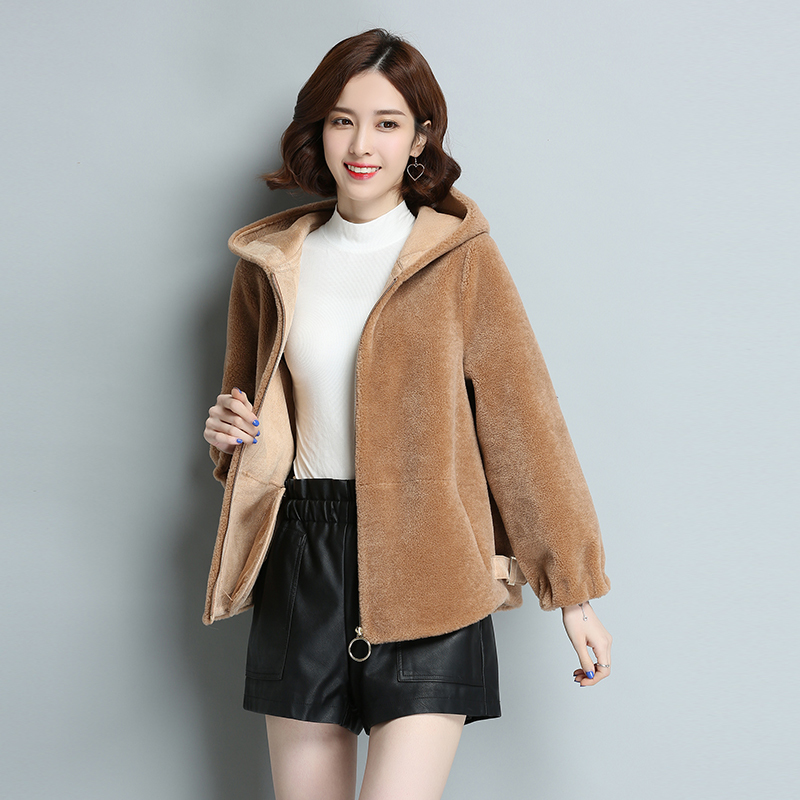 Real Sheep Shearing Coat Female Short Jackets Women Autumn Winter Natural Wool Fur Parka Spring Warm Clothes 2020 LWL1365