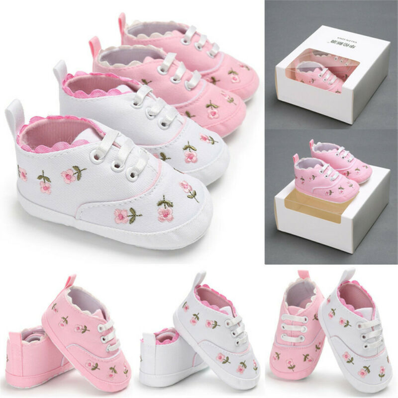 Infant Baby Shoes Girl Flower Soft Sole Crib Toddler Summer Princess Sneaker Shoes Casual Shoes 0-18M