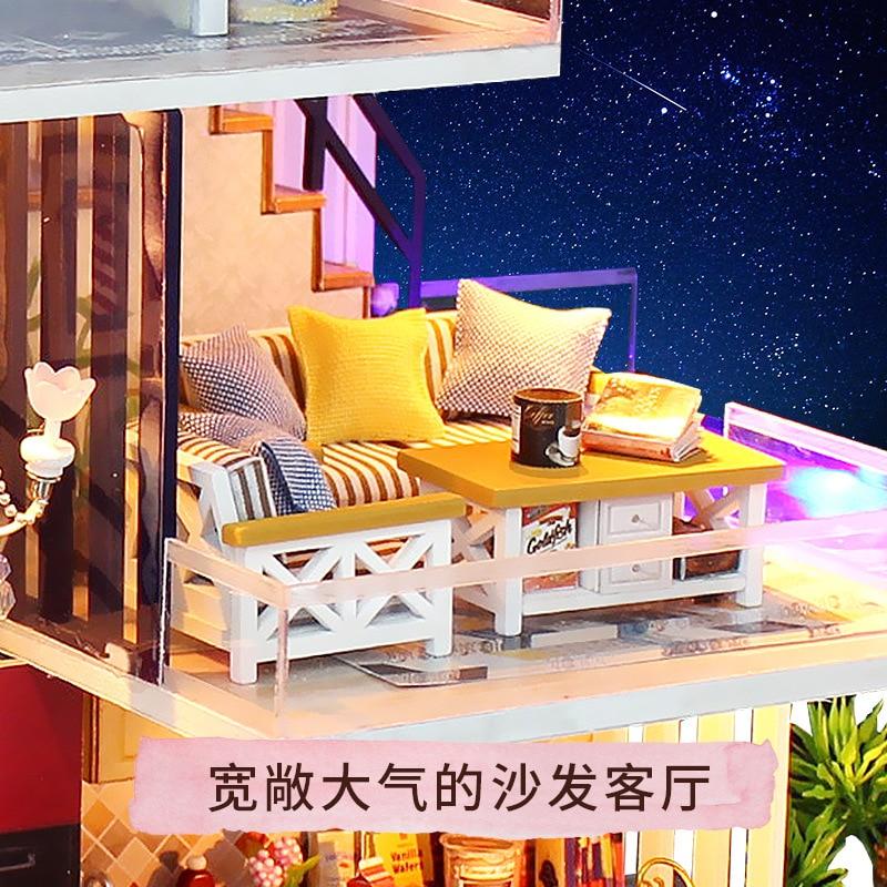[] 13847 Blue Ocean Romance Hoomeda-diy DIY Hut House Model Hand-made Toy Gift