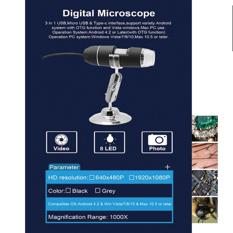 2MP 3in1 <font><b>USB</b></font> 1000X <font><b>Microscope</b></font> Camera <font><b>1080p</b></font> Video for Smart Phone OSX Windows PC 37MD image