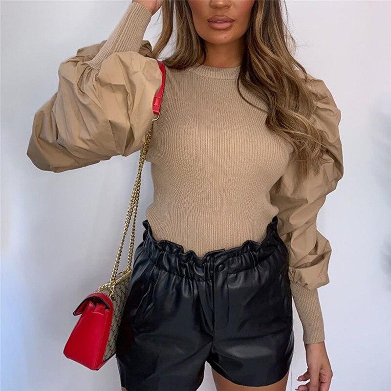 Puff Sleeve OL Bodysuit Sexy Women Long Sleeve Bodysuit 2019 New Fashion Bodycon Leotard Tops Blouse Jumpsuit   Rompers   Bodysuit
