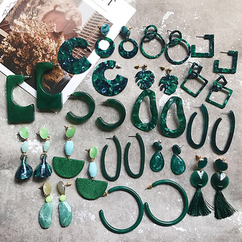 AOMU New Dark Green Geometric Round Big Circle Acrylic Statement Long Drop Earrings Acetic Acid Stone.jpg 350x350 - AOMU New Dark Green Geometric Round Big Circle Acrylic Statement Long Drop Earrings Acetic Acid Stone Earrings for Women серьги