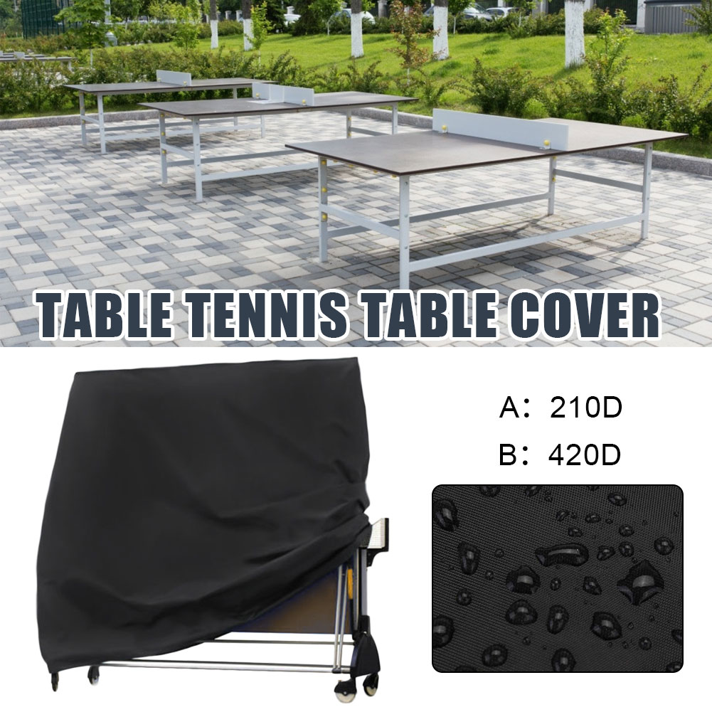 Pings Pong Table Cover Storage Cover Black Waterproof Anti-Dust Protection Table Tennis Sheet Furniture Case 165x70x185cm