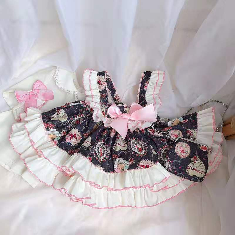 4PCS Spring Summer Floral Vintage Spanish Lolita Princess Ball Gown Dress For Girl Birthday Party Easter Larty Flower Dress