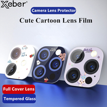 Cartoon Cute Camera Lens Tempered Glass Protection Case For iPhone 11 12 Pro Max 12mini Lens Screen Protector Sticker Ring Cover