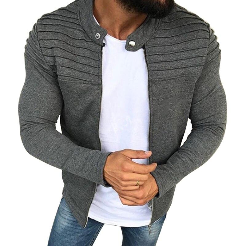LITTHING Casual Jacket Men Winter Autumn Streetwear Windbreaker Mens Clothing Pleats Slim Stripe Raglan Zipper Long Sleeve Coats