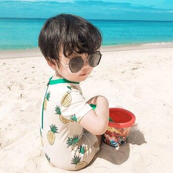 Traje de baño para niñas, novedad de 2020, bonito bañador para vacaciones de una pieza con piña, ropa para niños, Boxer, bañador de verano para niños