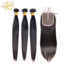 Прямые пучки с закрытием малазийские пучки волос с закрытием шнурка свободная/средняя часть Солнечный свет человеческих волос не Remy волосы переплетения