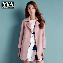 2019 neue Wolle Mantel Weibliche England Stil Mode Dünne Lange Oberbekleidung Herbst Elegante Büro Dame Casual Woolen Jacke S-2XL