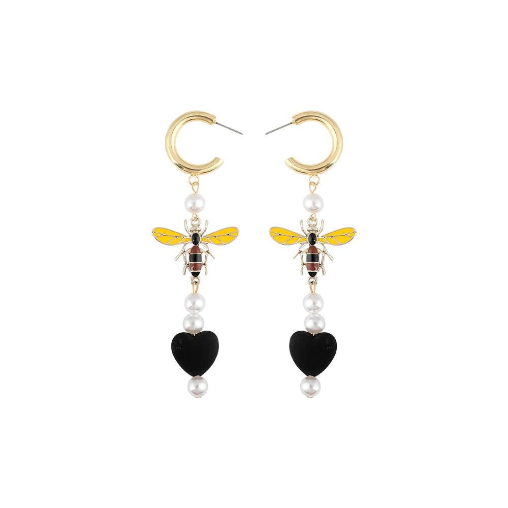 Модные жемчужные серьги в форме сердца с насекомыми для женщин Boho милые эффектные Жук пчела длинные висячие вечерние серьги Brinco