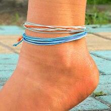 Boêmio fio ajustável pulseira praia pé tornozeleira cabo de corda artesanal tecido perna pulseiras para mulheres homens verão jóias