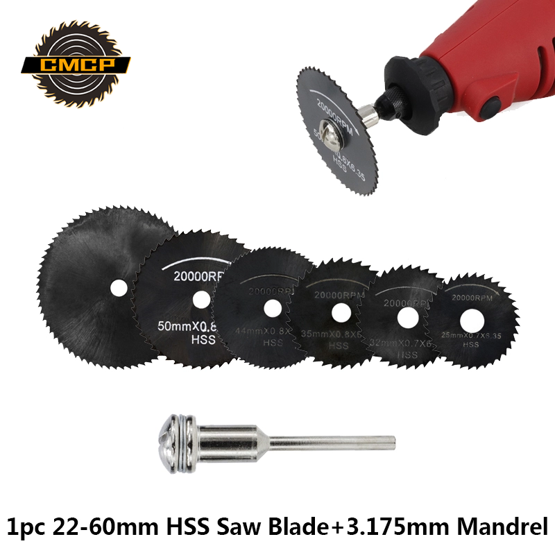 1pc 22-60mm HSS Saw Blade With 3.175mm Mandrel For Cutting Wood/Metal Mini Circular Saw Blade Set Wood Cutting Disc