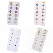 6pcs/Set Candy-Colored Crystal Earrings Cz Womens  Set Accessories 2019 Korean Brincos