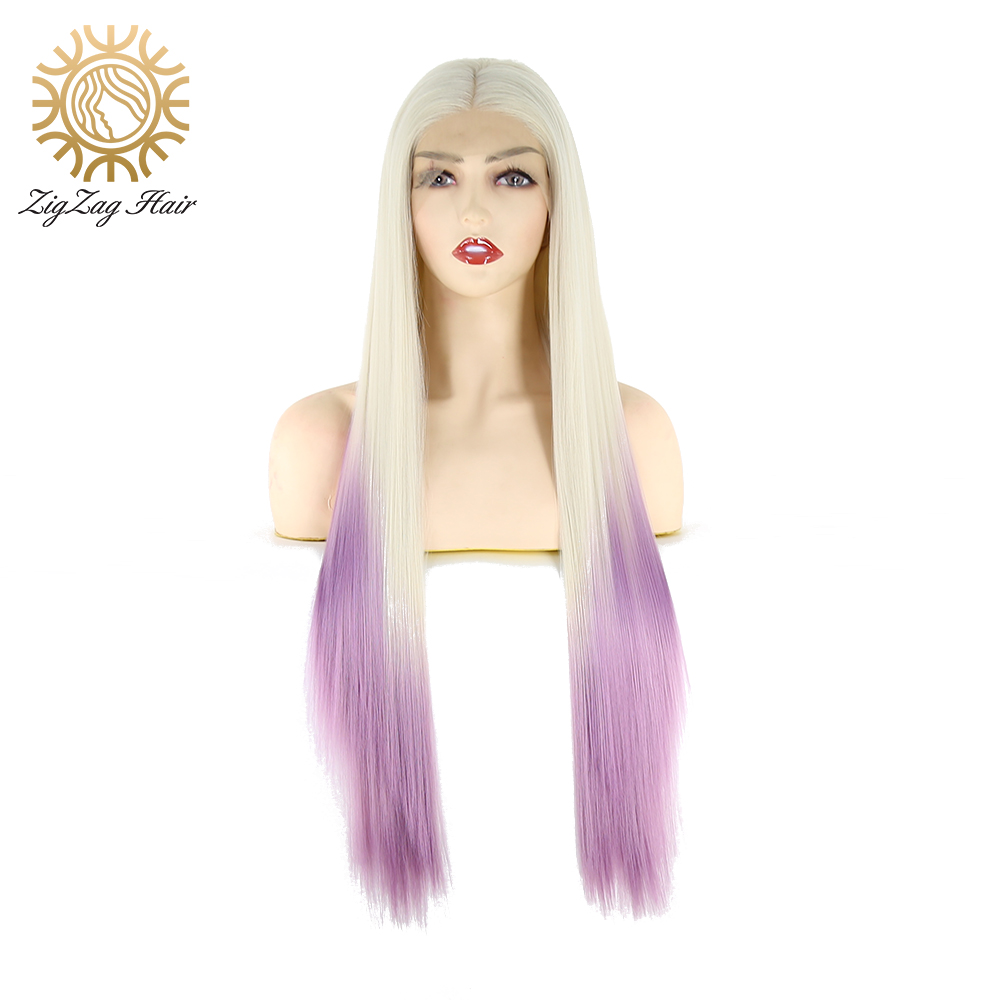 ZigZag Platinum Blonde Ombre Light Purple Synthetic Lace Front Wigs For Women Long Straight Wig Heat Resistant Fiber Middle Part