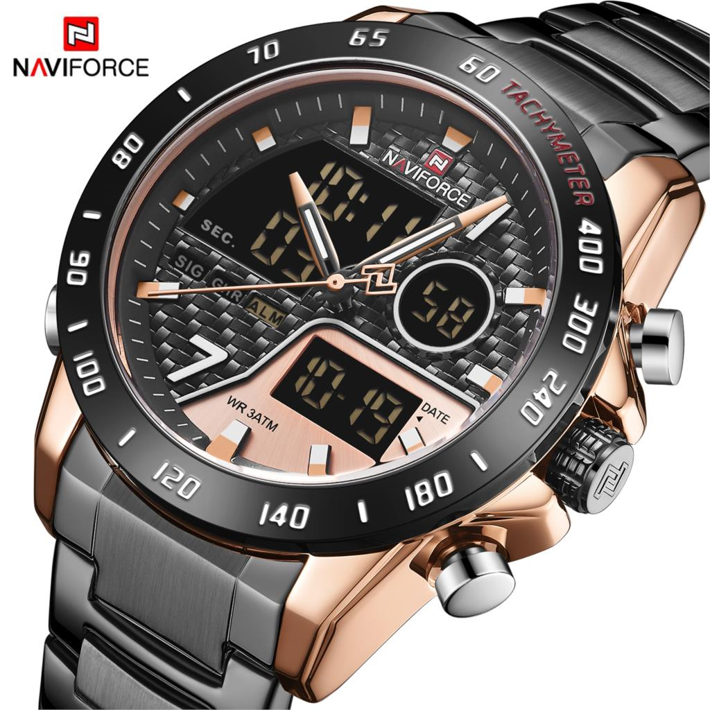 NAVIFORCE Luxury Brand Men Watch Military Sport Digital Quartz Clock Full Steel Waterproof Timepiece Relogio Masculino 2020 New