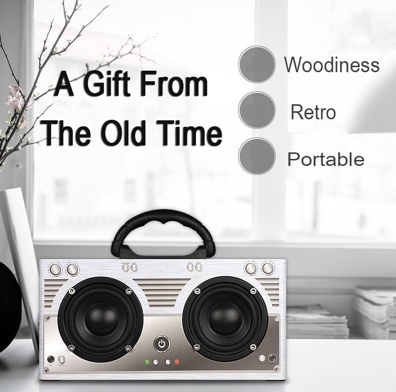Rétro portable Bluetooth haut-parleur 20w sans fil mains libres Radio en bois haut-parleurs Subwoofer intégré batterie 3000mAh TF AUX FM pour PC