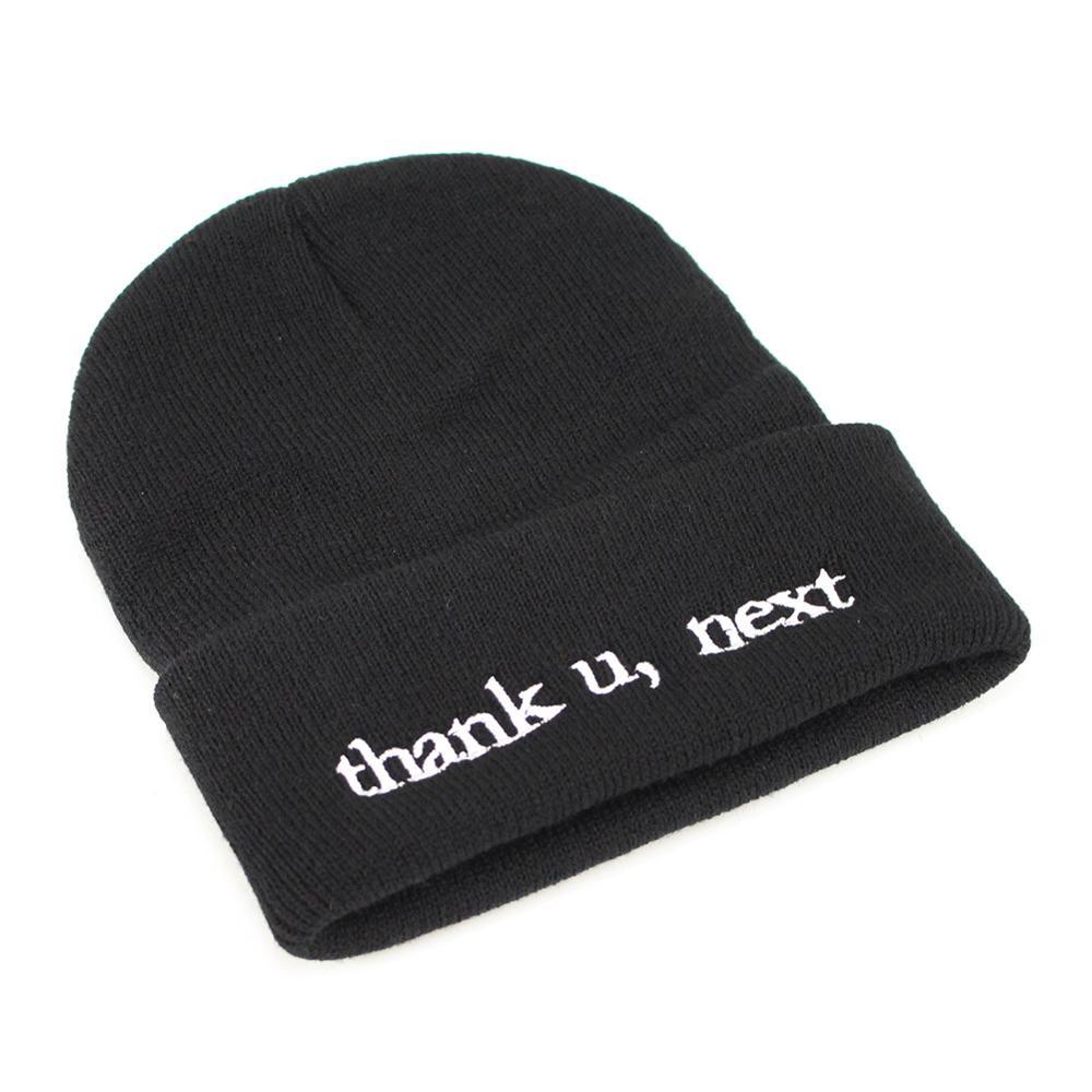 Ariana Grande Knitted Beanies Enbroidery Thank U,Next Beanie Cap Cotton Fashion Winter Hat For Men Women Thank U,Next