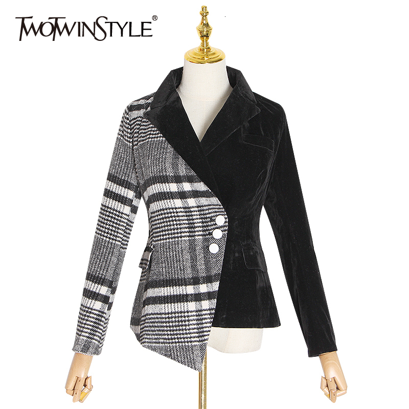 TWOTWINSTYLE Velour Patchwork Velvet Plaid Blazer Coat Female Long Sleeve Asymmetrical Autumn Women's Suits 2020 Fashion Clothes