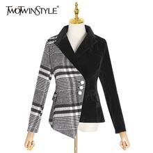 Plaid Blazer Asymmetrical Coat Suits TWOTWINSTYLE Female Fashion Women's Velvet Velour