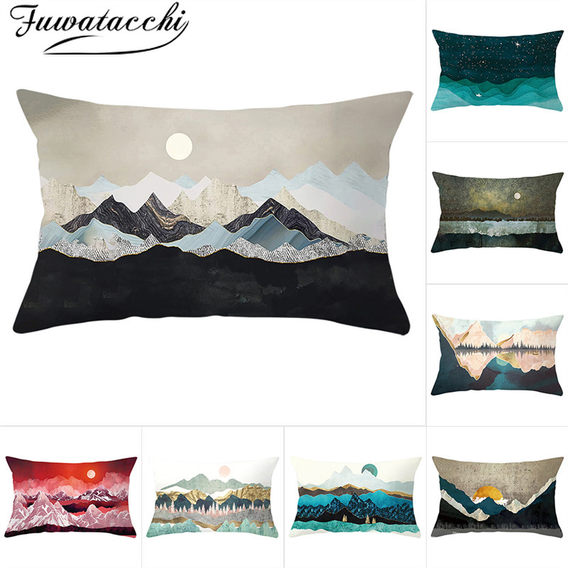 Fuwatacchi Sketches Style Rectangle Cushion Cover Beauty Scenery Pillow Cases Home Decorative White Pillows Cover For Sofa Car