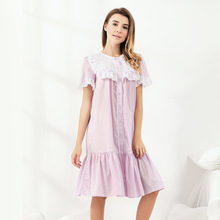 Pyjamas women summer purple cotton thin retro cute princess lace short-sleeved nightdress large size home service 17064DX new pyjamas women s summer mesh double layer solid color lace princess short sleeved nightdress large size home service d180111
