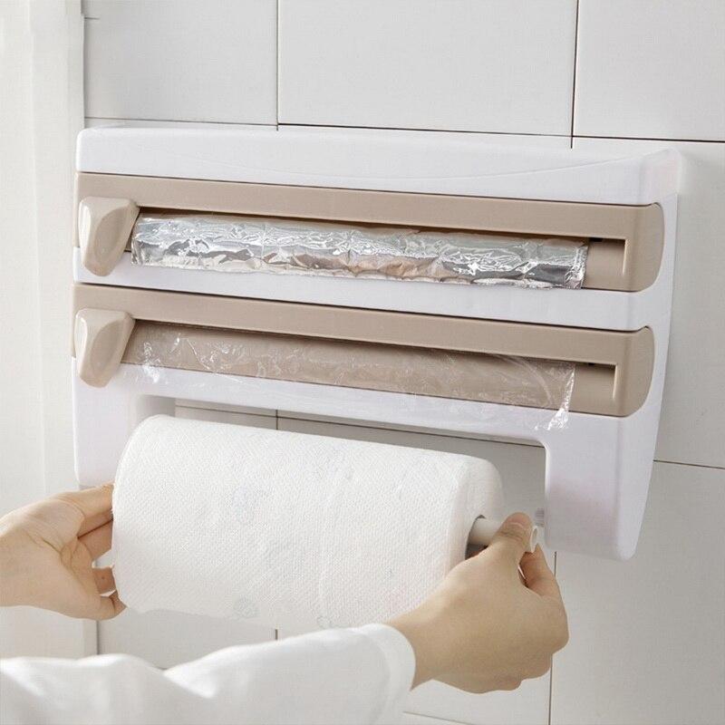 Держатель для бумажных полотенец цвета хаки, полка для кухонной утвари, аксессуары 4 в 1, настенный органайзер для хранения из оловянной фольги|Подставки для хранения и стеллажи|   | АлиЭкспресс
