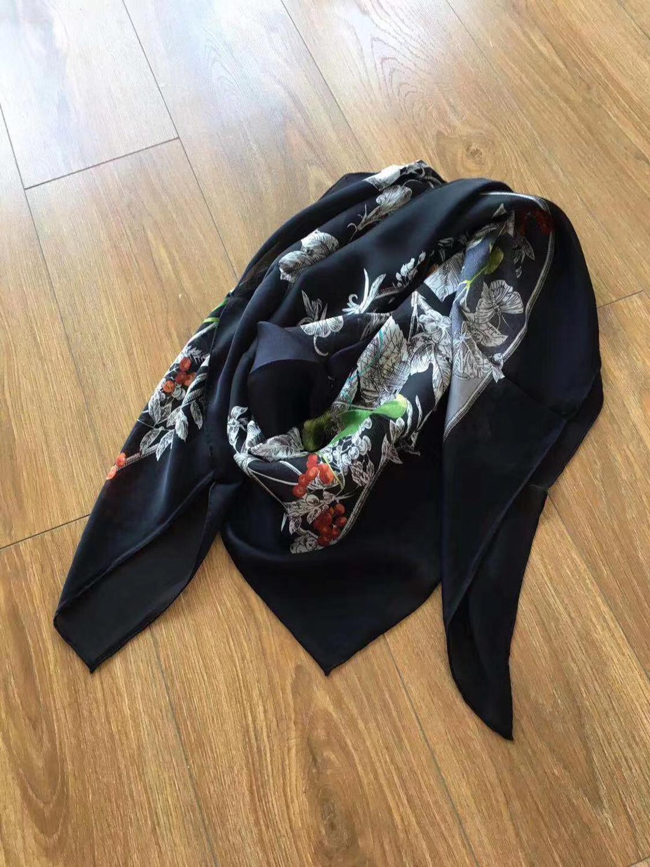 2019 new arrival  brand black flower 100% chiffon silk scarf 140*140 cm square big shawl twill wrap for women lady gift