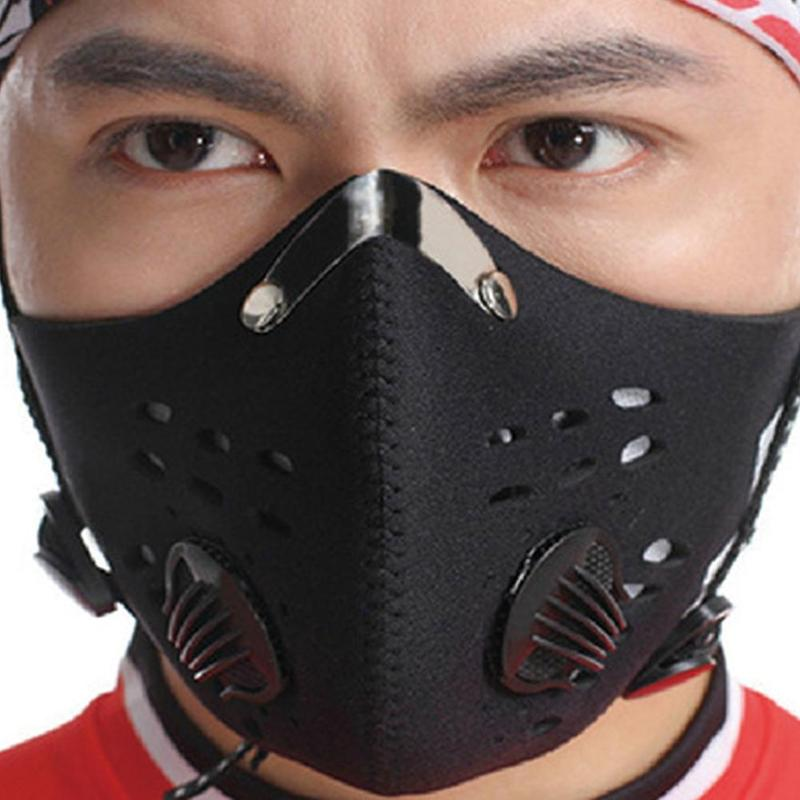 5pcs Outdoor Antibacterial Masks Double Activated Carbon Dustproof Mask Adult Unisex Reusable Prevent Saliva Splash Respirator