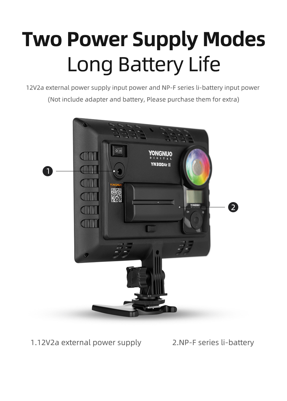 H052af9a53edf4d6b86d137bf37fc65a1M YONGNUO YN300AIR II RGB LED Camera Video Light,Optional Battery with Charger Kit Photography Light + AC adapter
