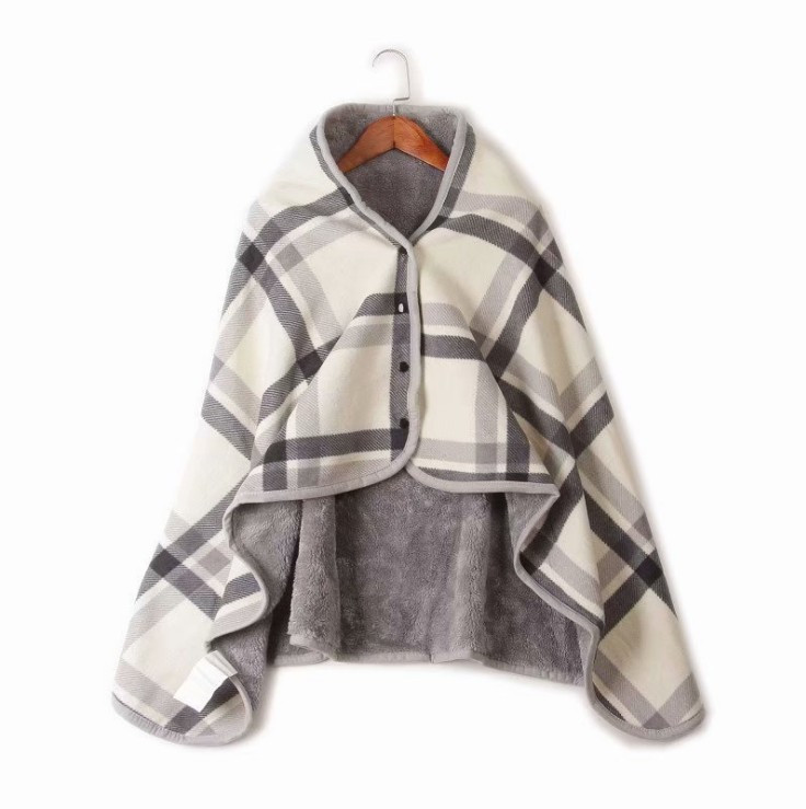Multipurpose Wearable Plaid Fleece Polyester Blanket With Button Winter Warm Throw On Sofa Bedroom Travel Cloak Blanket 135*80cm