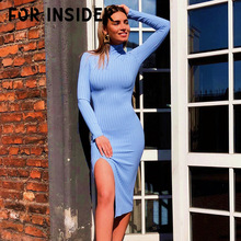Knitted ribbed bodycon midi dress women Mock Neck long sleeve sexy split party dresses elegant Sweater autumn winter