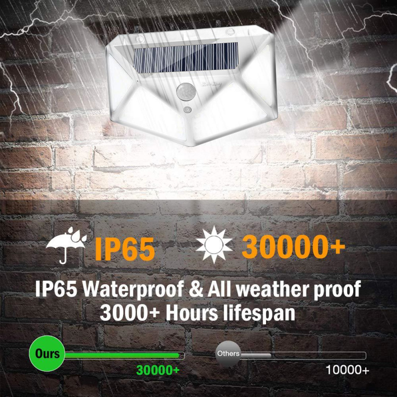 PIR Motion Sensor Solar Outdoor Light with 114 to 100 LED and Lithium Battery Powered by Sunlight 3