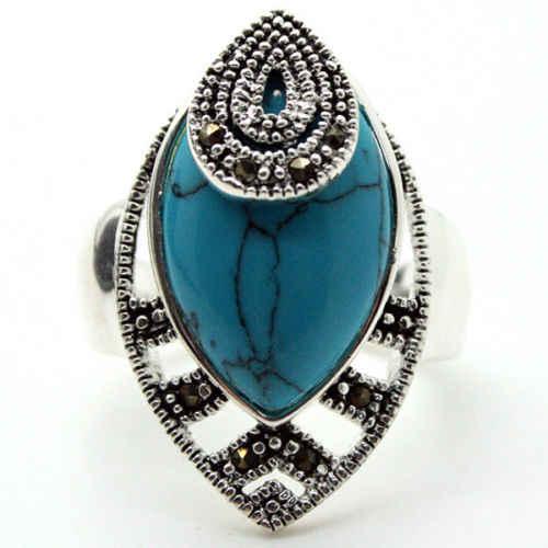 30*18 Mm Rare Vintage 925 Perak Biru Pirus Marble Cake DROP Ring SZ 7/8/9/ 10