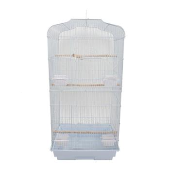 "【US Warehouse】37"" Bird Parrot Cage Canary Parakeet Cockatiel LoveBird Finch Bird Cage with Wood Perches & Food Cups White"