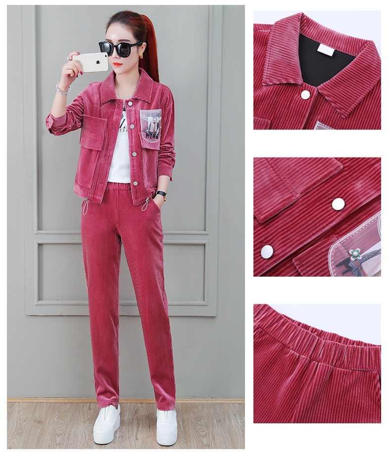 2020 conjunto de roupas da senhora esportes lazer terno 3 peça conjunto agasalho novo veludo esportivo terno feminino curto jaqueta + calças 1591
