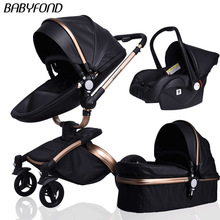Newborn 3 in 1 luxury stroller Babyfond Two-way foldable four-wheeled Baby
