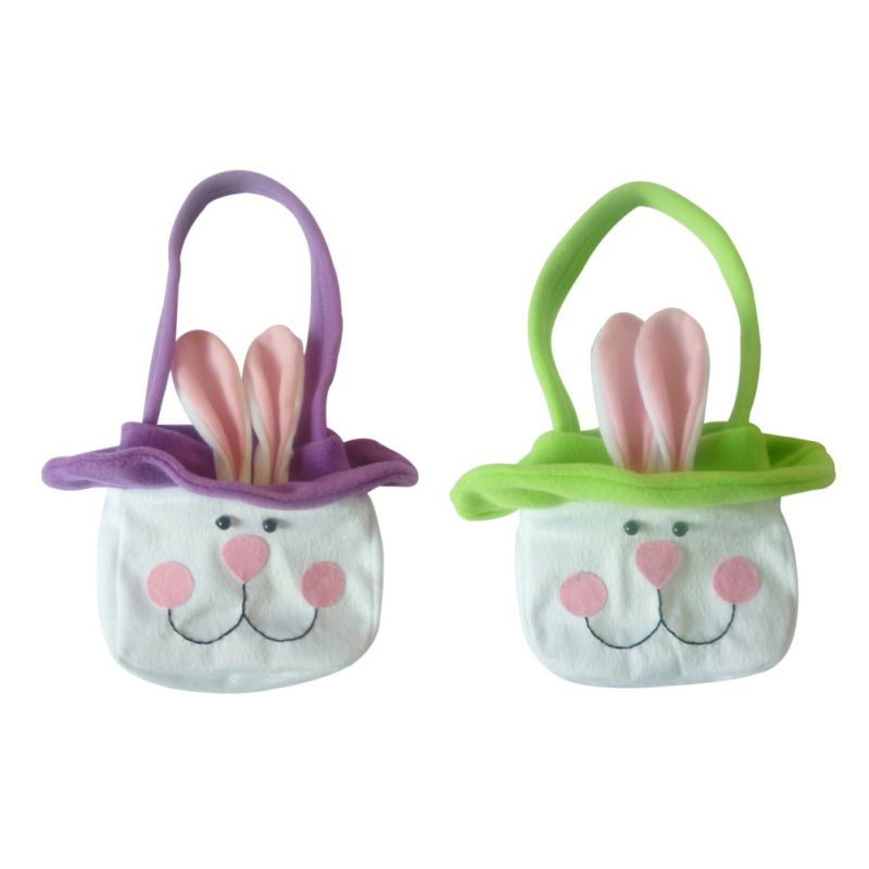 1Pc Easter Bunny Ear Bags Rabbit Candy Snack Bag Baskets Kids Gifts Bag Festival Craft Wedding Party Favors Bucket Decorations