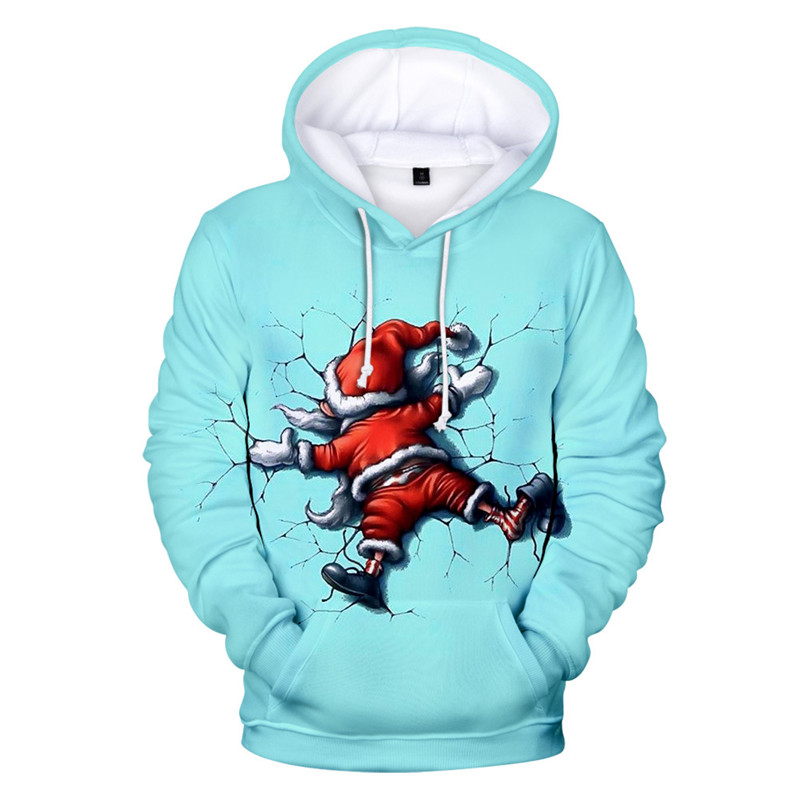Santa Claus Unisex Men Women Novelty Ugly Christmas Sweater Christmas Snowman 3D Printing Hooded Sweater Warm Sweater