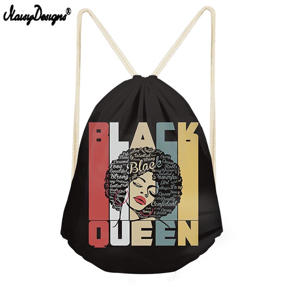 Fashion Drawstring Bags Afro Girls For Girls Boys Customized Bagpack Kids Teenagers Women Beach Bag Dropshipping Kinderrucksack
