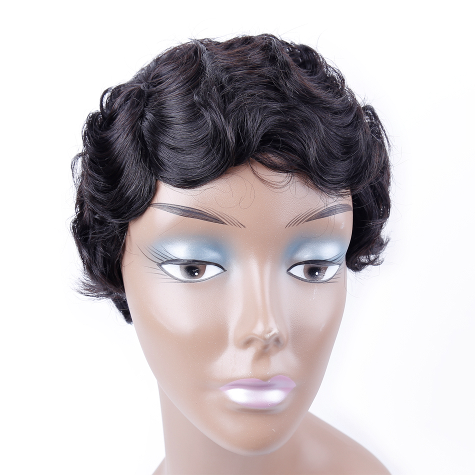 UR Beauty Hair Hepburn Style Ocean Wave Short Human Hair Wigs Machine Made 8