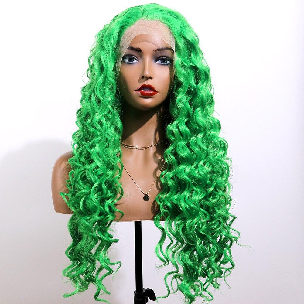EEWIGS de alta temperatura Grey onda profunda peluca azul Rosa rubia peluca con malla frontal con Babyhair amarillo 613 sintético pelucas para mujeres