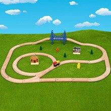 Деревянный трек поезд набор железная дорога Magic Brio Обучающие игрушки-пазлы для детей подарок на день рождения электрические игрушки поезда для детей