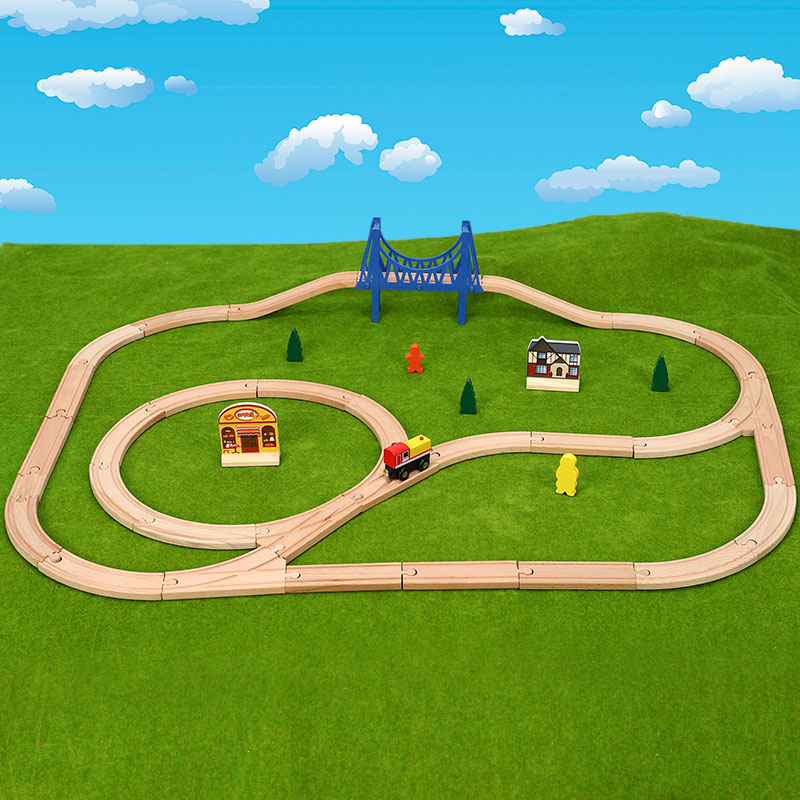 Wooden Tracks Train Set Railway Magic Brio Puzzles Educational Toys For Children's Birthday Present Electric Toy Trains For Kids