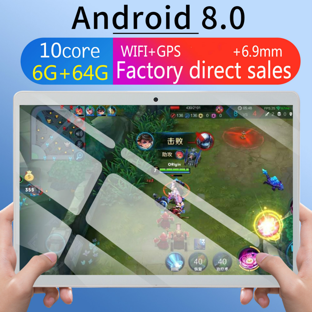 WiFi Tablet PC 10 Inch Ten Core 4G Network Android 8.0 6G+64GB Dual SIM Dual Camera Rear