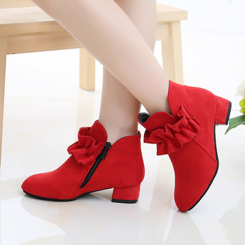 цена 2019 New Fashion High Heel Children Shoes For Girls Flower Autumn Leather Boots Ankle Kids Boots 4 5 6 7 8 9 10 11 12 Year Old онлайн в 2017 году