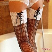 Offre Spéciale Sexy Femmes Bas Dentelle Haut Cuisse Haute Bas Sur genou Chaussettes boîte de Nuit Collants Clôture Maille Dentelle Bas
