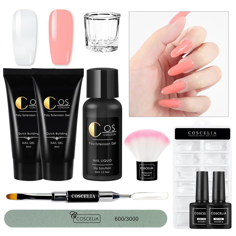 COSCELIA Poly Extention Gel Kits Nail Gel Polish Set UV LED Poly Gel Slip Solution Quick Builder Hard Jelly For Nail Gel
