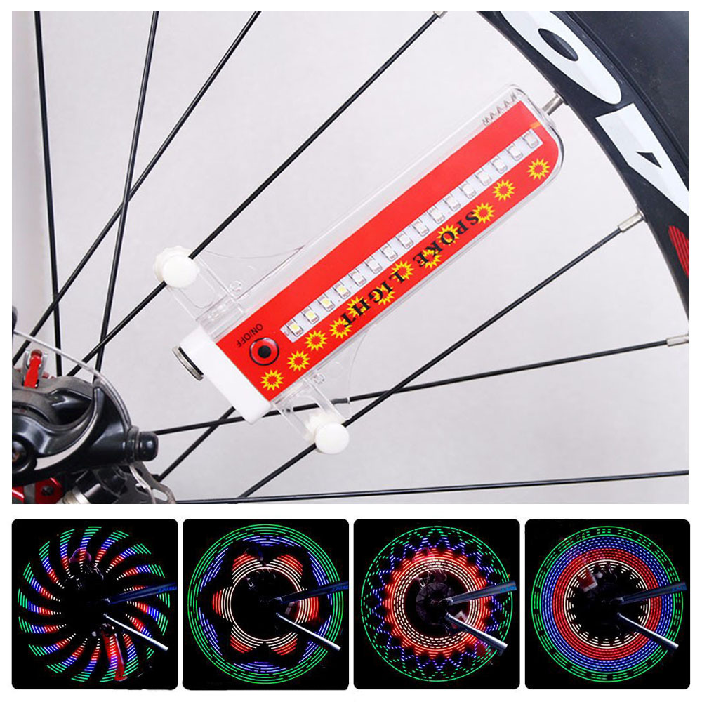 LED 32 Modes Bike Spoke Warning Traffic Light Waterproof Bicycle Wheel Tyre Flashing Light Signal Lamp Reflective Rim Rainbow