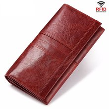 Women Genuine Leather Red Long Wallet Mobile Phones Ladies Real Cowskin Purse Female Cowhide Handbag Clutch Bag for Woman Girl(China)
